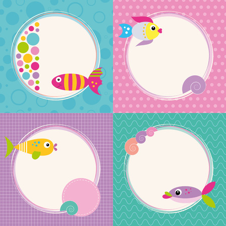 funky cartoon fish greeting cards collection  Vector