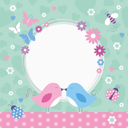flowery love birds greeting card  Vector