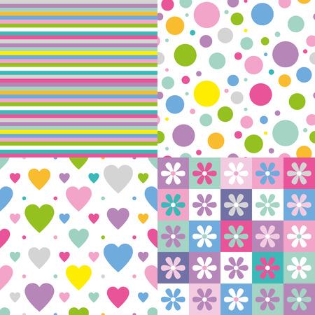 rayas, círculos, corazones y flores patrón de colección