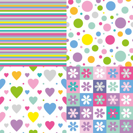 stripes, circles, hearts and flowers pattern collection  Vector