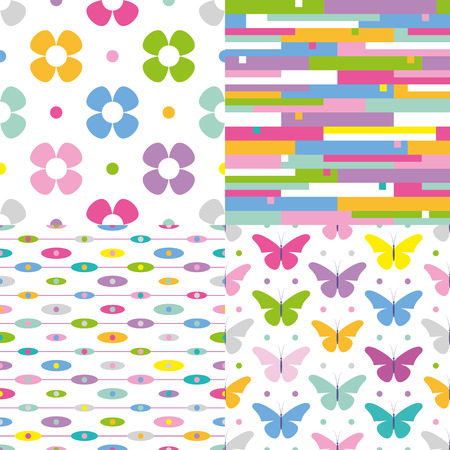 flowers, stripes, dots and butterflies pattern collection Vector