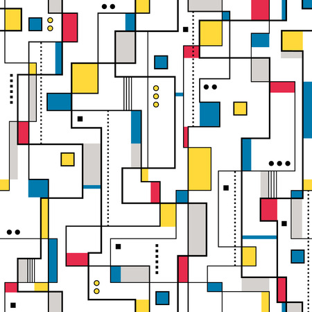 modernism: yellow red and blue abstract pattern