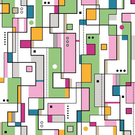 bauhaus: green orange and pink abstract pattern