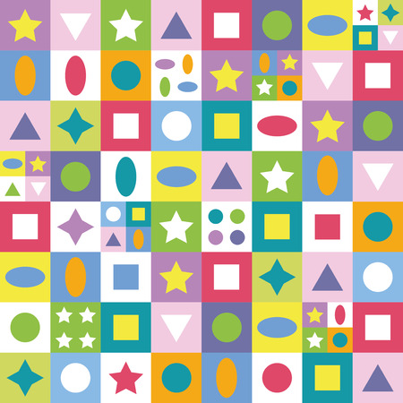 patron de circulos: cuadrados de colores Estrellas tri�ngulos y c�rculos patr�n Vectores