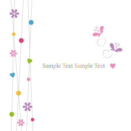 cute hearts flowers dots and butterflies greeting card  Illustration