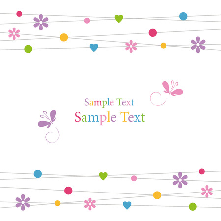 cute hearts flowers dots and butterflies greeting card  Vector