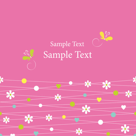 pink hearts flowers dots and butterflies greeting card Vector