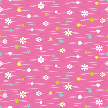 pink hearts flowers and dots pattern