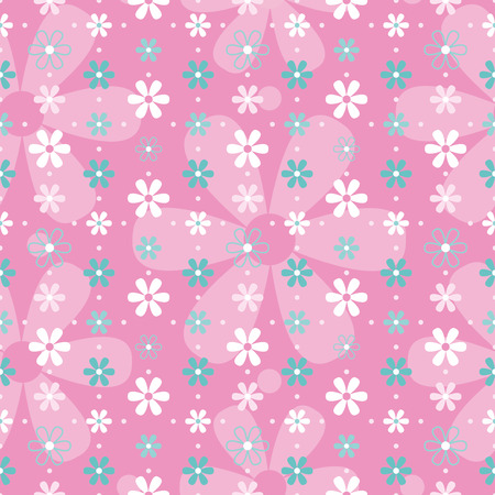 blue and white flowers on pink background pattern