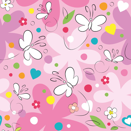 white and purple butterflies and flowers pattern on pink background