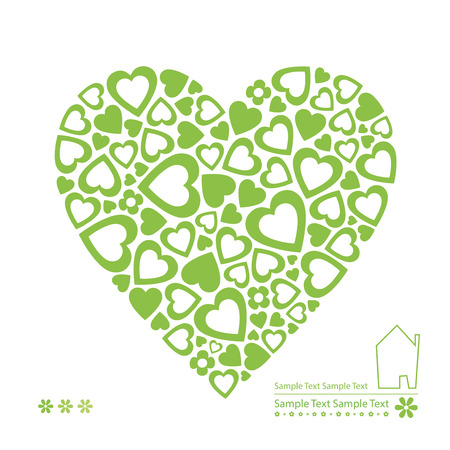 green ecology heart card Vector