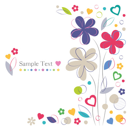 colorful flowers and hearts greeting card Vector