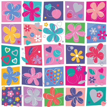 cute hearts and flowers pattern on colorful squares background 向量圖像