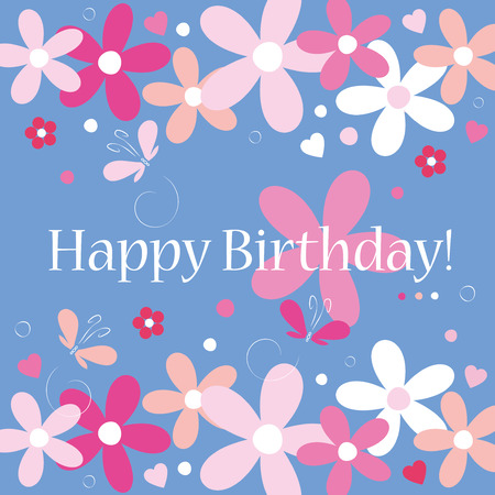 blue hearts flowers and butterflies happy birthday card  Vector