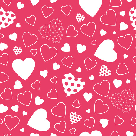 lovely white hearts pattern on red background  向量圖像