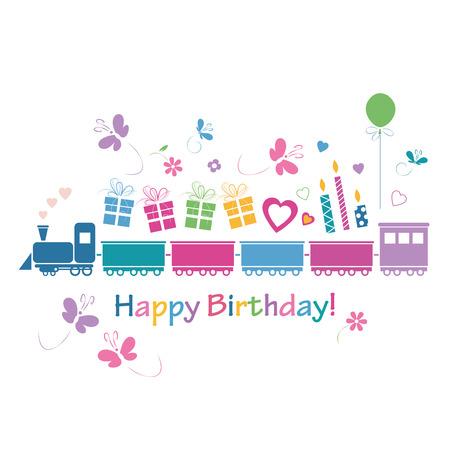 cute happy birthday train card  Vector
