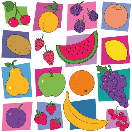 colorful fruit collection pattern  Vector