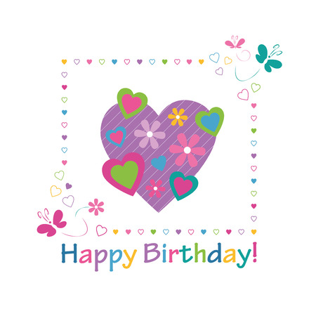 wishes romantic: colorful hearts happy birthday card