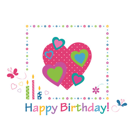bougie coeur: coeurs colorés carte de joyeux anniversaire
