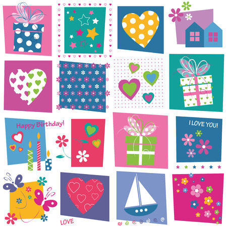 hearts flowers and birthday gifts pattern  Vector