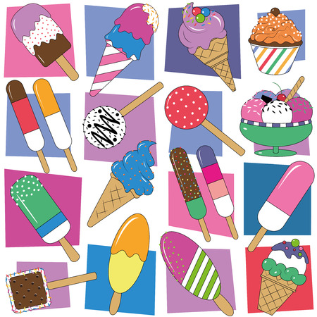 colorful ice cream collection set  Vector