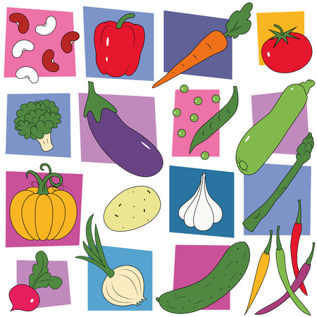 colorful vegetables collection pattern  Vector