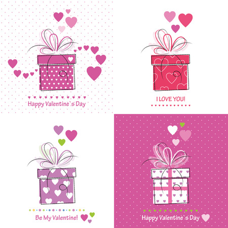 cute valentines day cards collection  Vector