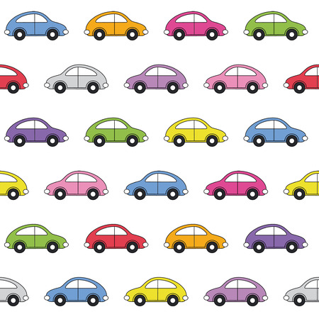 colorful cars pattern  Vector