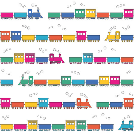 birthday train: colorful trains pattern  Illustration