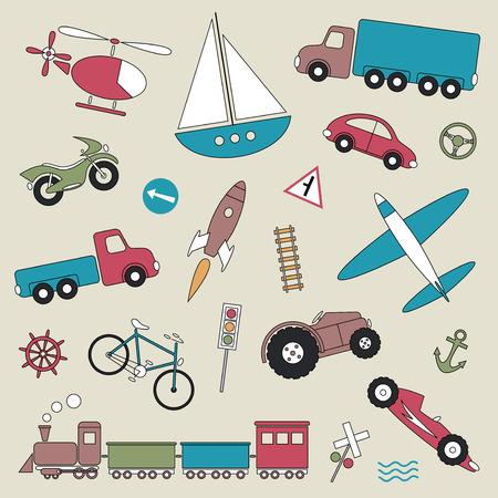 railroad crossing: traffic elements set vector illustration