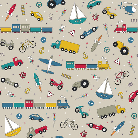 railroad crossing: traffic elements pattern on beige background  Illustration