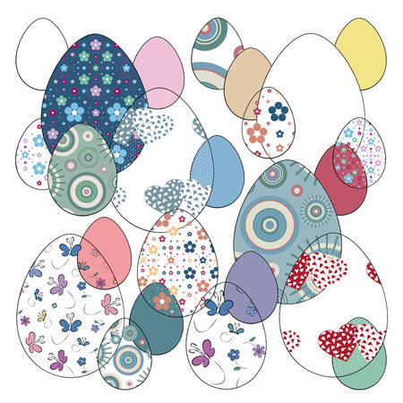 easter eggs set vector illustration  Vector