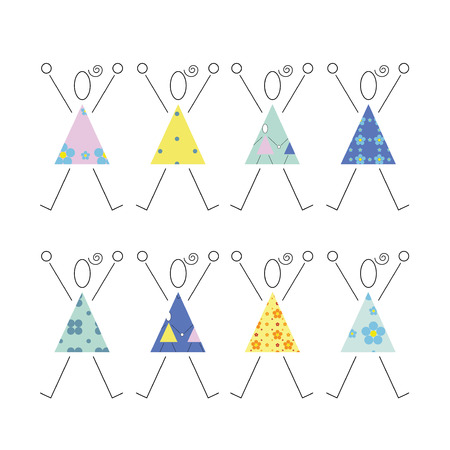 squad: cheering girls in colorful dresses illustration  Illustration