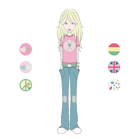 british girl: cartoon teenage blond girl in pink t-shirt and blue jeans  Illustration