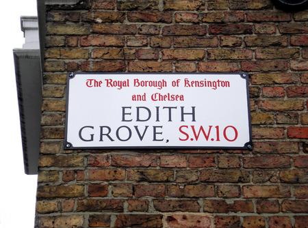 edith: Edith Grove street sign, The Royal Borough of Kensington and Chelsea, London, UK