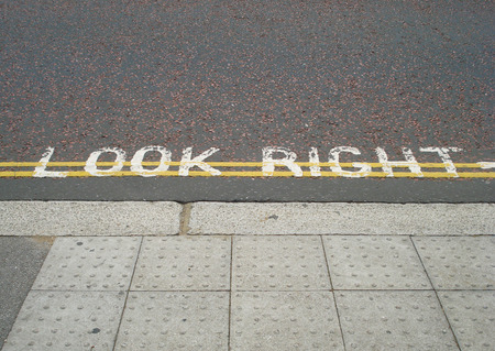look at right: Look right,  London pedestrian street sign