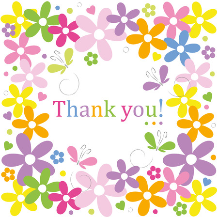 hearts flowers and butterflies border thank you card Vector