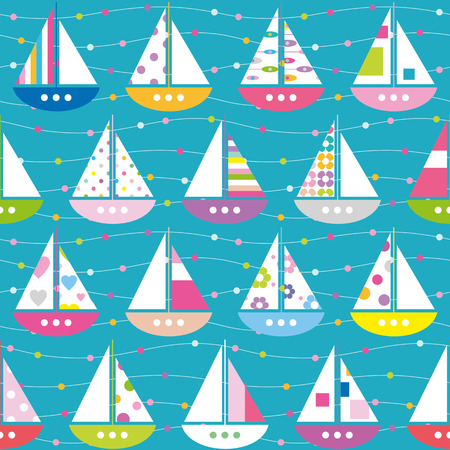 colorful boats pattern Vector
