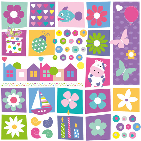 kids birthday set pattern Illustration