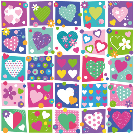 colorful hearts flowers and dots collection pattern Illustration