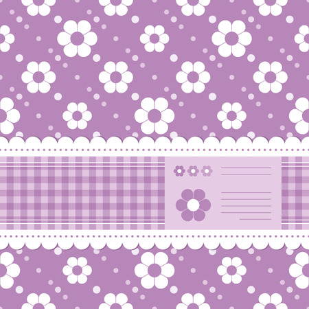 purple flowery greeting card Vector