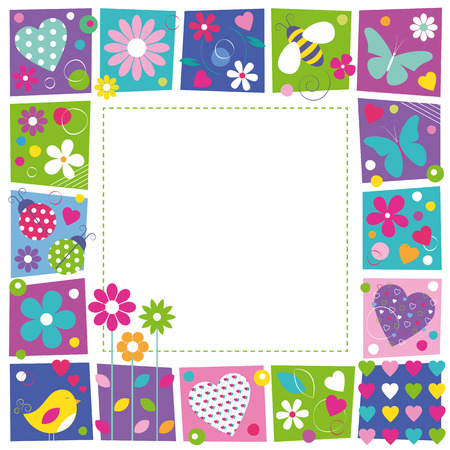 cute hearts flowers and butterflies border Vector