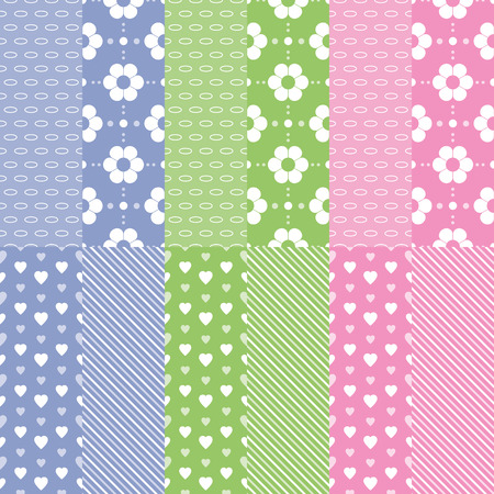 green day baby blue background: cute baby girl and boy pattern collection Illustration