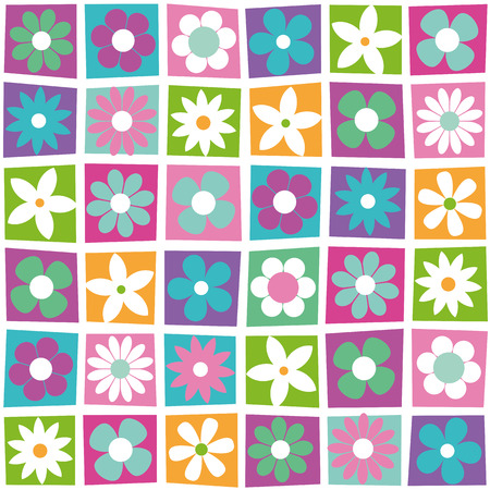 colorful flowers collection pattern Illustration