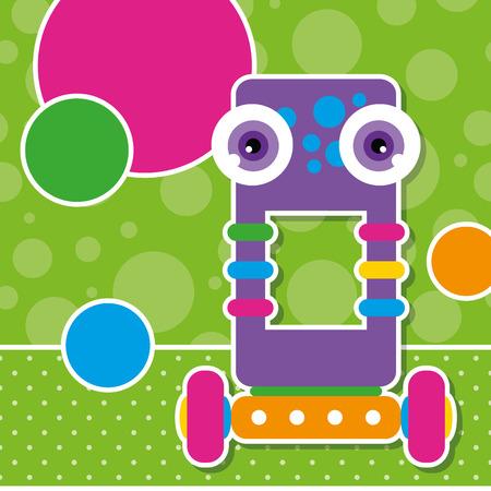 cute robot: cute robot greeting card  Illustration