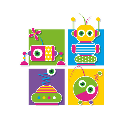 cute robots collection greeting card Vector