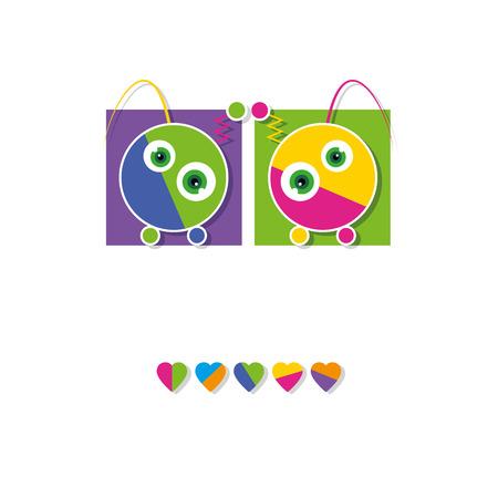 cute robots greeting card Vector