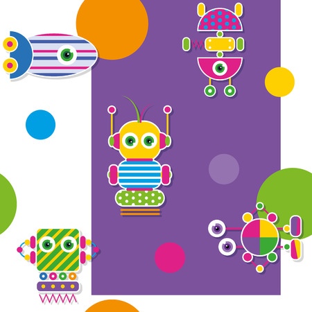 robot girl: colorful robots collection pattern   greeting card