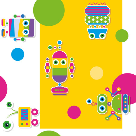 colorful robots collection pattern   greeting card  Vector