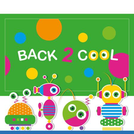 cute robot schoolchildren greeting card Vector